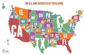 map of us states based on population map of the united states distorted by population