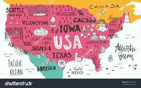 Mexico Map With States by Hand Drawn Illustration Usa Map Hand Stock Vector 427263937