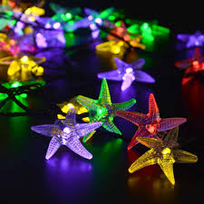 Novelty String Lights by Luckled Starfish Solar String Lights 20ft 30 Led Fairy Decorative