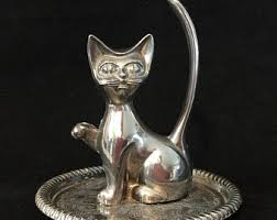 silver cat ring holder images Cat ring holder etsy jpg