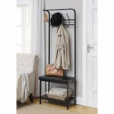 ehomeproducts black metal and bonded leather entryway shoe bench