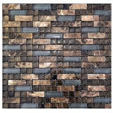 brown and grey stone glass tile kitchen backsplash mosaic wall