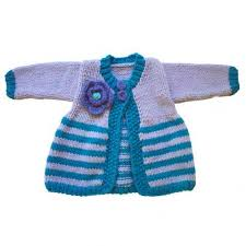 purple and blue sweater and hat set for baby and toddler