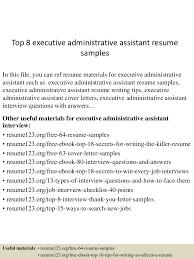 Resume Samples Of Administrative Assistant by Top8executiveadministrativeassistantresumesamples 150425020043 Conversion Gate01 Thumbnail 4 Jpg Cb U003d1429945286