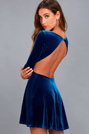 dress blue luxe velvet dress royal blue dress open back dress