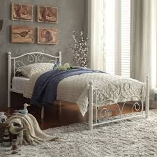 Iron Bedroom Furniture Abigail Metal Platform Bed White Multiple Sizes Walmart Com