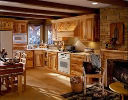 Rustic Hickory Kitchen Cabinets Furniture Rustic Hickory Kitchen With L Shaped Brown Wood