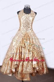gorgeous gold sequins little pageant dress halter top floor