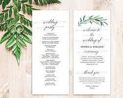tea length wedding program template greenery wedding program template printable wedding programs