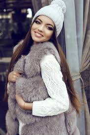 straight hair with outfits glamour girl with dark straight hair wears luxurious fur coat and