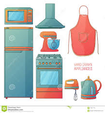 Kitchen Furniture Accessories Kitchen Furniture Accessories Interior Cartoon Stock Vector