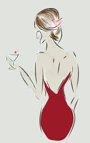 fashion design sketch of a woman with a dress and cocktail stock