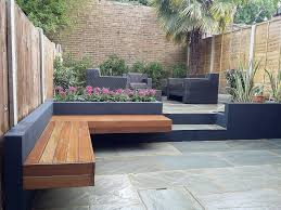 garden small backyard designs with black furniture chairs set and