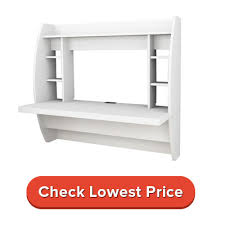 white floating desk with storage recommended by experts