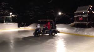 how to water your backyard rink with a golf cart zamboni youtube