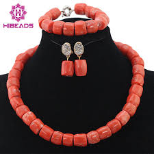 Costume Jewelry Unique Beaded Design Simple Coral Beaded Fashion Necklace Earrings Bracelet Jewelry Set