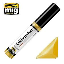 ammo of mig oilbrusher gold oil paint with fine brush applicator
