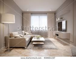 Beige And White Curtains Modern Beige Gray Living Room Interior Stock Illustration