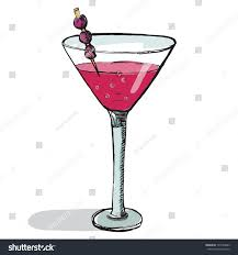 margarita glass cartoon cosmopolitan cocktail glass vector illustration handdrawn stock