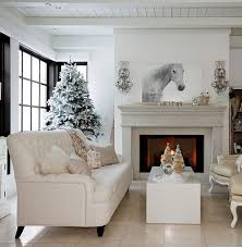Simple Christmas Home Decorating Ideas by Decorations White Living Room With White Christmas Decoration