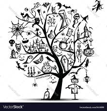 halloween trees halloween tree for your design royalty free vector image