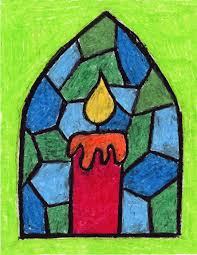 Kids Stained Glass Craft - stained glass candle teacher christmas art and pastels