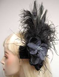 feather hair accessories black feather hair clip fascinator burlesque