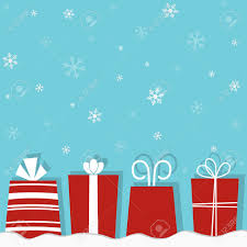 christmas gifts on a snow background royalty free cliparts
