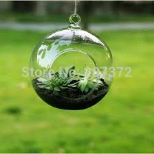Round Flower Vases Diameter 20cm Glass Hanging Flower Vases Round With An Opening