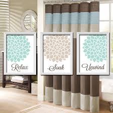 blue and beige bathroom ideas shower curtain bathroom wall canvas artwork relax by