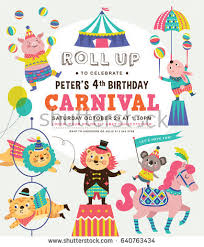 many stock birthday party invitation card vector creation kids birthday party invitation card circus stock vector 640763434