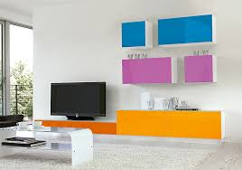 Purple And Orange Bedroom Contemporary High Gloss Unico Wall Storage System In Orange