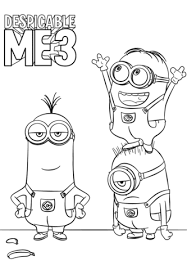 despicable 3 minions coloring free printable coloring pages