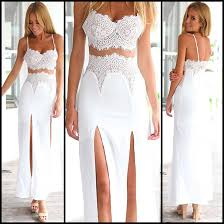 white lace two piece dress featuring bralette and maxi skirt with