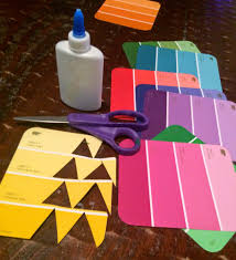fun and easy craft paint chip christmas tree ornaments and gift tags