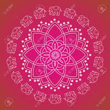 Oriental Design Colorful Traditional Oriental Henna Elephant Mandala Design