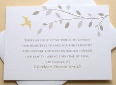 thank you for sympathy card bird funeral thank you card digital sympathy card