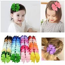 kids hair accessories kids hair bow coxeer 20 pack grosgrain ribbon bowknot hair clip