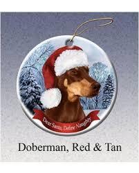 amazing deal doberman pinscher red howliday dog christmas ornament
