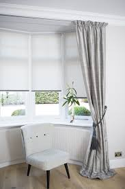 Make Your Own Roller Blinds Dressing A Bay Window By Combining Curtains And Roller Blinds