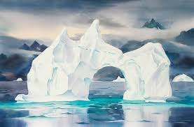 watercolour watercolor polar landscape paintings by david mceown inspired by the icebergs of greenland baffin island north pole and paintings from