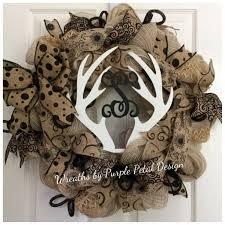 summer burlap wreath deer antler monogram wreath monogram