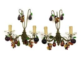 Glass Fruit Chandelier by Pair Of Antique French Chandelier Wall Sconces Multi Color Glass