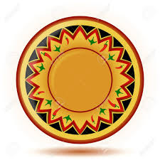yellow mexican ornament painted plate isolated on white royalty free