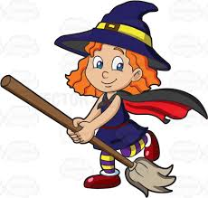 a dressed as a cute witch cartoon clipart vector toons