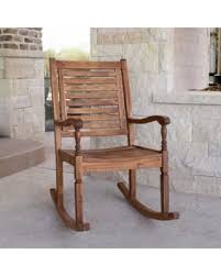 Patio Rocking Chairs Wood Deals On Loon Peak Imene Solid Acacia Wood Patio Rocking Chair