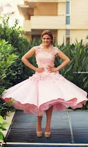 pink prom dresses with illusion cap sleeves ruffly skirt vintage