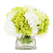 white hydrangea the aisle apple green and white hydrangea in pyramid glass