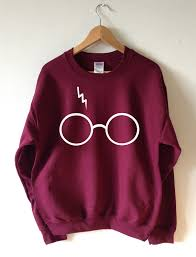 harry potter inspired glasses and lightning sweatshirt screen
