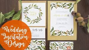 wedding invitation design wedding invitation design foliage watercolour photoshop